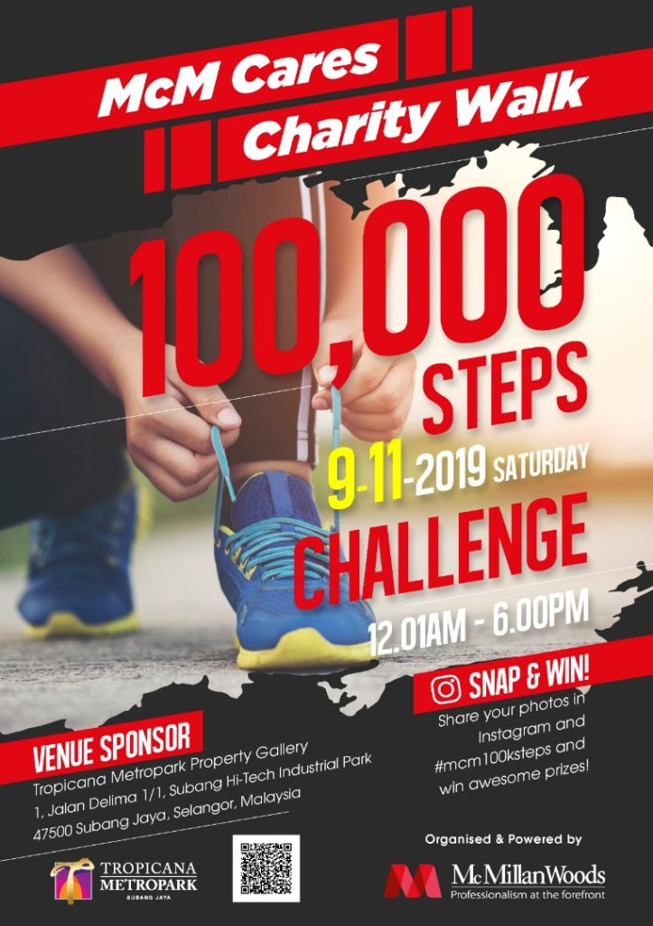 McM Cares Charity Walk,100000 Steps, 9th Nocember 2019, Sarurday, 12 am to 6 pm, Tropicana Metropark Property Gallery 1 Jalan Delima 1/1 Subang Hi-Tech Industrial Park Subang Jaya. Snap & Win by sharing your photos on Instagram with hashtag #mcm100ksteps and win awesome prizes! Organize by McMillianWoods.